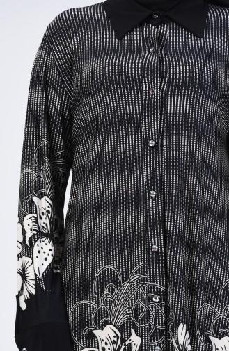 Büyük Beden Desenli Tunik 7168A-03 Siyah