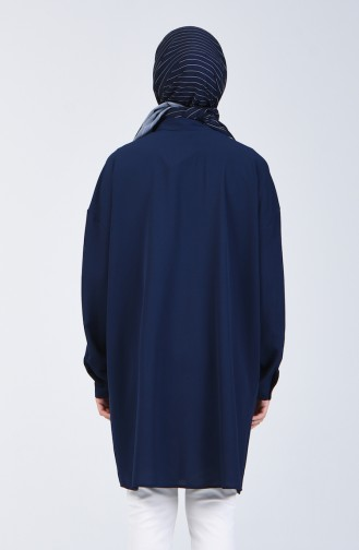 Düğmeli Gömlek Tunik 1315-04 Lacivert