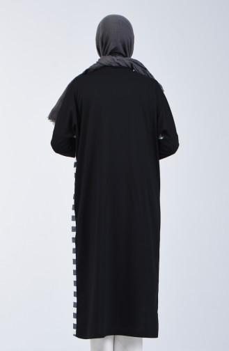 Bat Sleeve Silvery Long Tunic 8021-01 Black White 8021-01