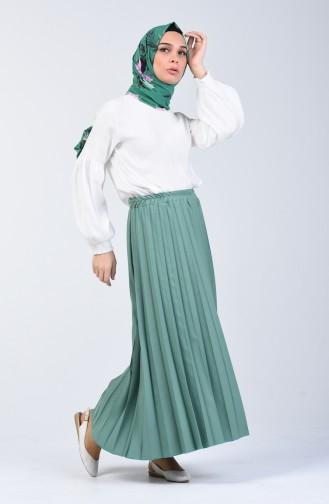Pleated Skirt 5224-13 Almond Green 5224-13