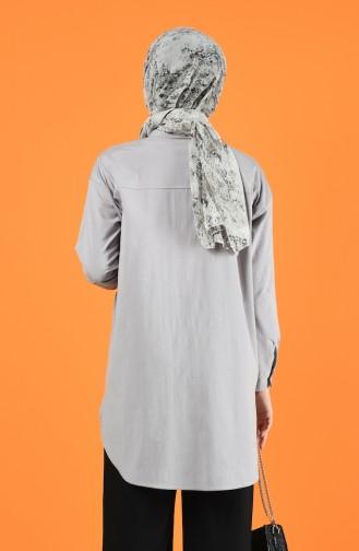 Oversize Gömlek 5291-04 Gri