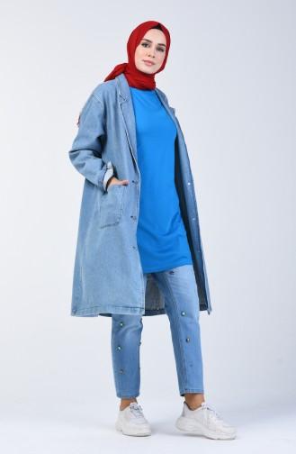 Basic Uzun Tshirt 8131-02 Mavi