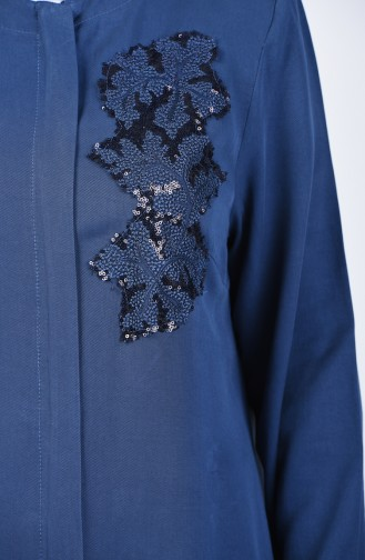Plus Size Sequined Topcoat 0370-01 İndigo 0370-01