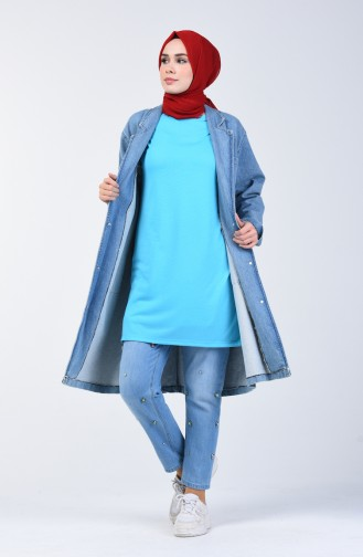 Basic Long T-shirt 8131-06 Turquoise 8131-06