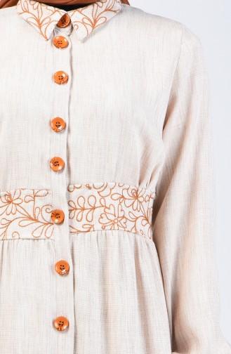 Nakışlı Düğmeli Elbise 7039-05 Bej