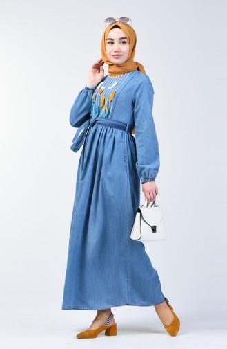Jeansblau Hijap Kleider 7063-01