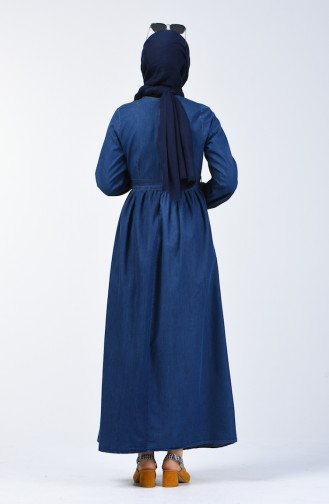 Tassel Detailed Jeans Dress 7063-02 Navy Blue 7063-02