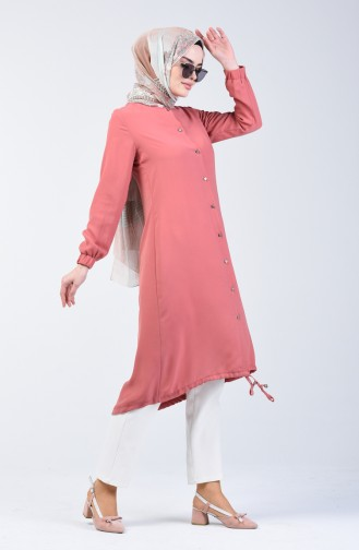 Buttoned Linen Tunic 5539-03 Rose Dry 5539-03