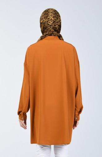 Düğmeli Gömlek Tunik 1315-06 Hardal
