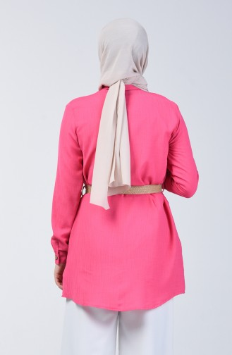 Belted Tunic with Pockets 1632-02 Fuchsia 1632-02