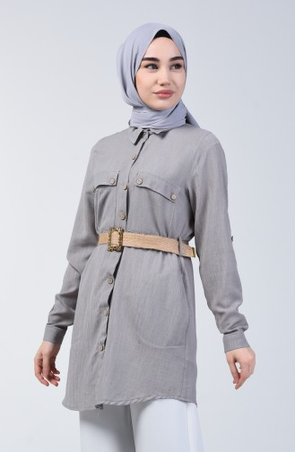 Belted Tunic with Pockets 1632-08 Grey 1632-08