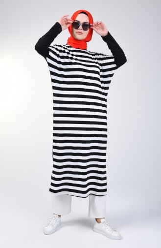 Bat Sleeve Striped Tunic 8022-01 Black 8022-01