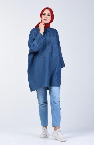 Bat Sleeve Denim Tunic 4043-01 Navy Blue 4043-01