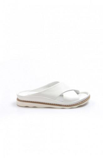 Fast Step Terlik Hakiki Deri 301 Beyaz Düz Ayakkabı 903Za54120