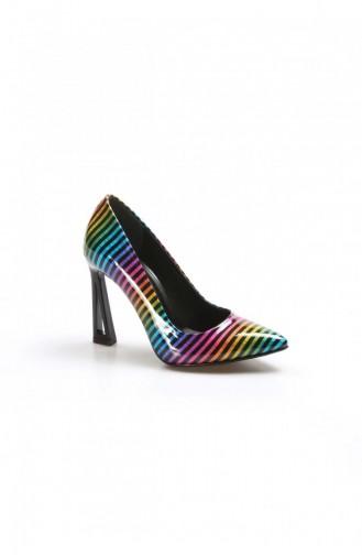 Fast Step Topuklu Ayakkabı Gokkusagi Cizgili Okce Siyah Yüksek Topuk Ayakkabı 629Za005001 629ZA005-001-16782424