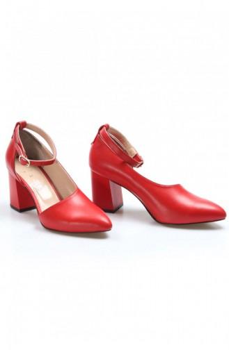 Fast Step Topuklu Ayakkabı Hakiki Deri Kırmızı Kalın Topuklu Ayakkabı 064Za788