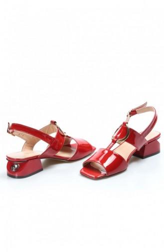 Fast Step Topuklu Ayakkabı Hakiki Deri Kırmızı Rugan Kısa Topuklu Ayakkabı 064Za731 064ZA731-16777559