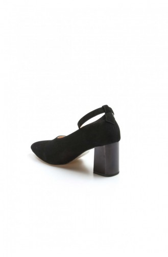 Fast Step Topuklu Ayakkabı Hakiki Deri Siyah Süet Kalın Topuklu Ayakkabı 064Za788 064ZA788-16777285