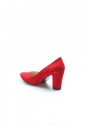 Fast Step Topuklu Ayakkabı Kırmızı Süet Kısa Topuklu Ayakkabı 917Za850