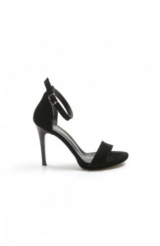 Fast Step Topuklu Ayakkabı Siyah Süet İnce Topuk Ayakkabı 917Za1001
