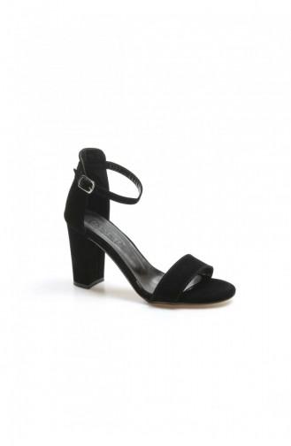 Fast Step Topuklu Ayakkabı Siyah Süet Kalın Topuklu Ayakkabı 917Za601