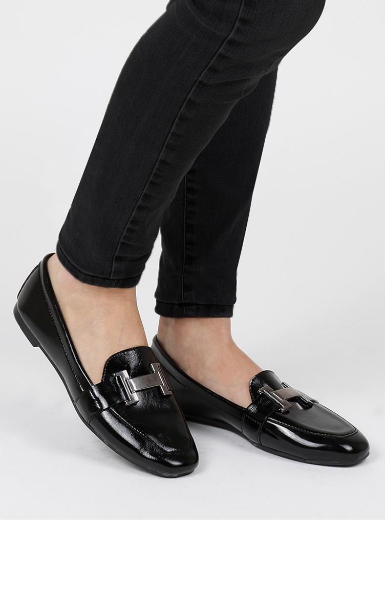 Women´s Buckle Flat shoes 0167-06 Black