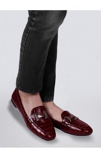 حذاء مسطح نسائي أحمر كلاريت 0167-09