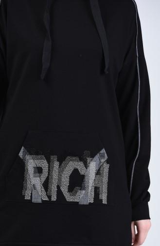بدلة رياضية بقبعة أسود 9136-02