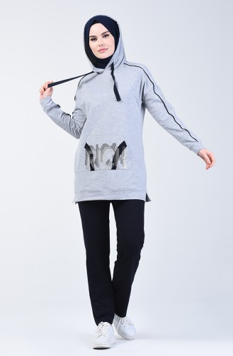 Hooded Sportswear Suit 9136-04 Gray 9136-04