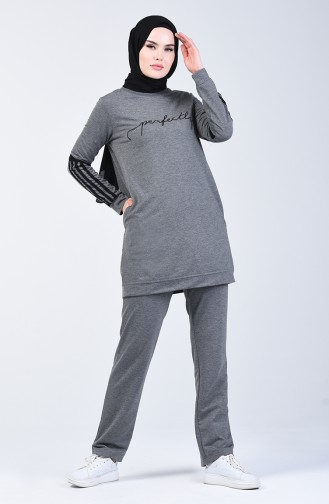 Printed Tracksuit Set 9166-03 Anthracite 9166-03