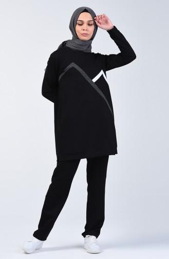 بدلة رياضية مزينة بشريط أسود 9171-01