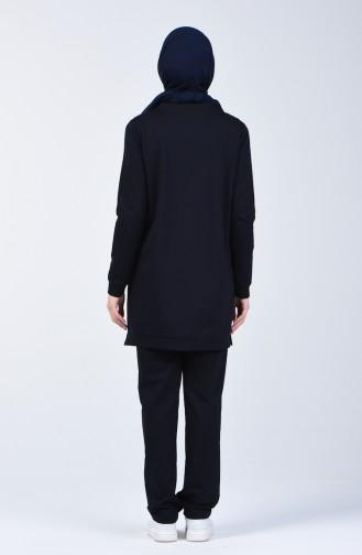 Striped Sportswear Suit 9171-02 Navy Blue 9171-02