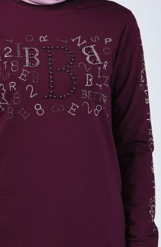 بدلة رياضية بتصميم مُطبع أرجواني داكن 9192-04