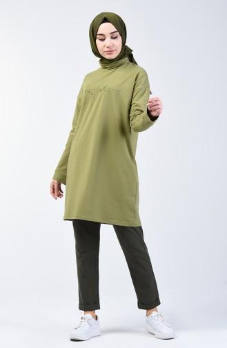 بدلة رياضية بتصميم كتابة أخضر زيتي 0416A-03