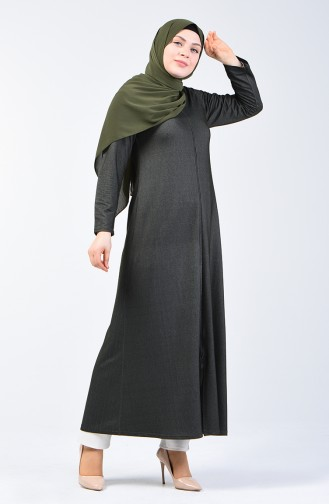 Fermuarlı Ferace 4453-01 Koyu Yeşil