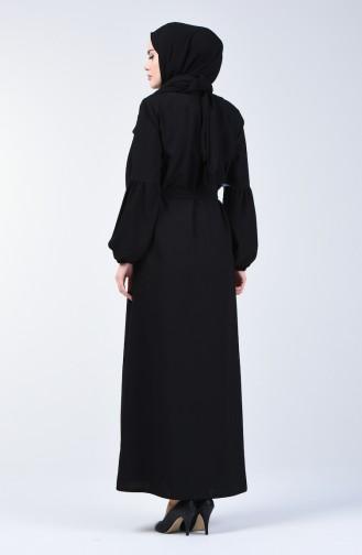 Embroidered Belted Abaya 5045-01 Black 5045-01