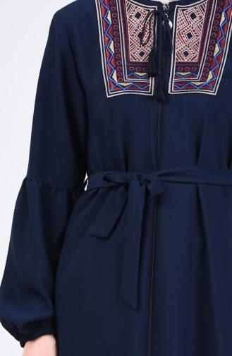 Embroidered Belted Abaya 5045-03 Navy Blue 5045-03