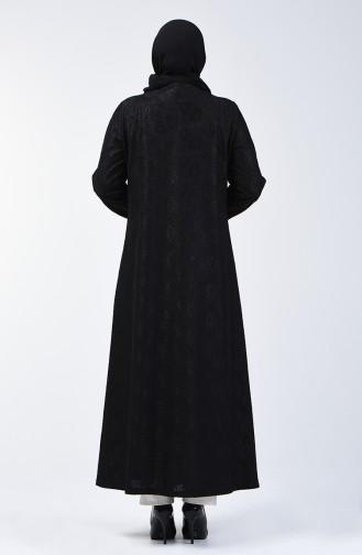 Büyük Beden Dantel Kaplama Abiye Ferace 0294B-02 Siyah 0294B-02