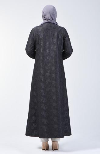 Grösse Grosse Spitzen Detailliertes Abendkleid Abaya 0294B-03 Anthrazit 0294B-03