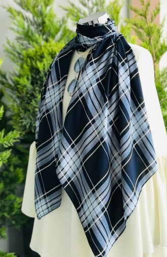 Patterned Cotton Shawl 61414-01 Navy Blue 61414-01