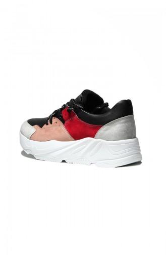 Bayan Spor Ayakkabı 5000-02 Siyah Pembe Bordo