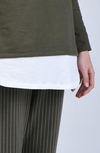 İki İplik Çizgili Tunik Pantolon İkili Takım 2004-01 Haki 2004-01