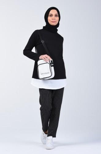İki İplik Çizgili Tunik Pantolon İkili Takım 2004-03 Siyah 2004-03