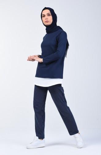 İki İplik Çizgili Tunik Pantolon İkili Takım 2004-04 Lacivert 2004-04