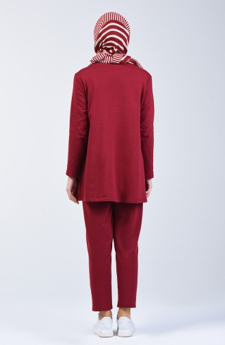 Two Thread Shirred Tunic Trousers Double Set 2005-02 Claret Red 2005-02