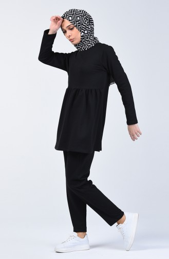 Two Thread Shirred Tunic Trousers Double Set 2005-03 Black 2005-03