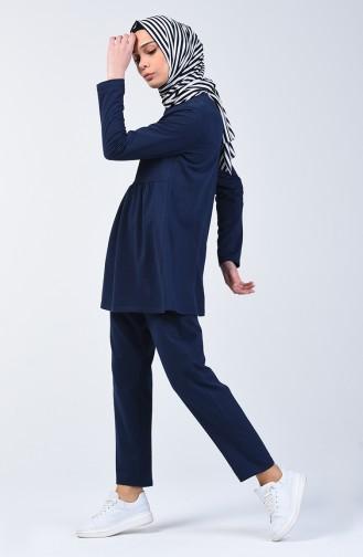 İki İplik Büzgülü Tunik Pantolon İkili Takım 2005-04 Lacivert