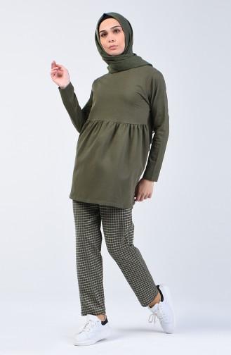 İki İplik Tunik Pantolon İkili Takım 2006-01 Haki 2006-01