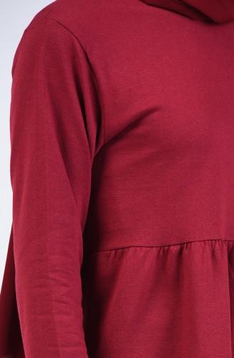 طقم تونيك وبنطال بتصميم خيوط مزدوجة مخطط أحمر كلاريت 2007-02