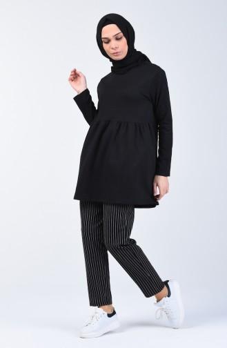 İki İplik Çizgili Tunik Pantolon İkili Takım 2007-03 Siyah 2007-03